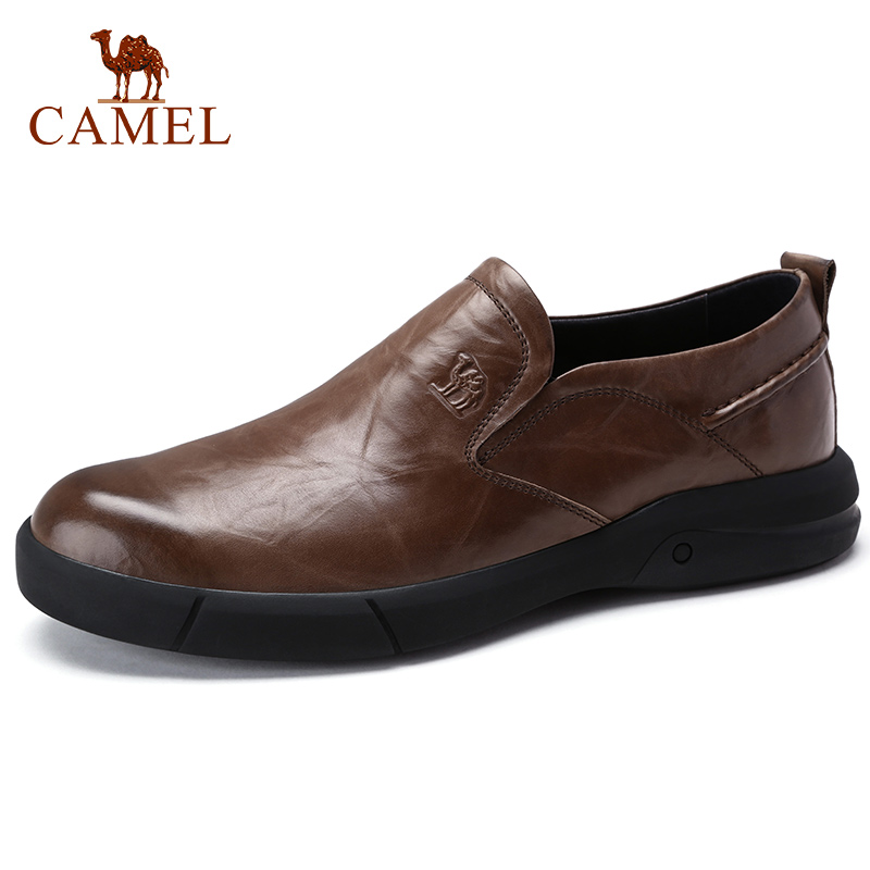 CAMEL Autumn New Casual Men's Loafers Men Genuine Leather Shoes Fashion Men's Business Lightweight Elastic Resistant Men Shoes