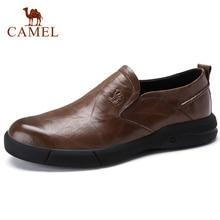 CAMEL ฤดูใบไม้ร่วงใหม่ผู้ชายสบายๆ Loafers ผู้ชายรองเท้าหนังแท้รองเท้าแฟชั่นผู้ชายน้ำหนักเบายืดหยุ่นทนรองเท้าผู้ชาย