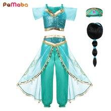PaMaBa Girls Princess Jasmine Dress Halloween Clothes for Kids Aladdins Lamp Childrens Set Top Pants Cosplay Costume