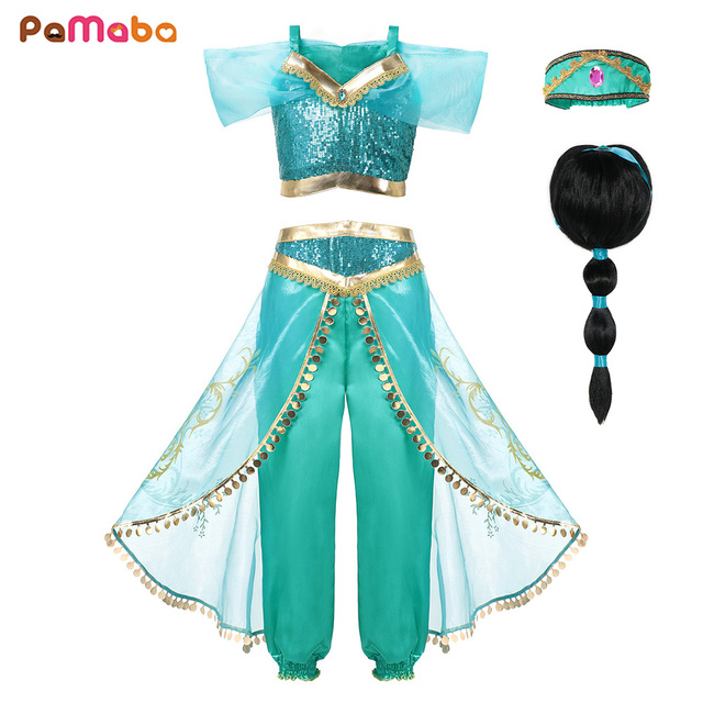 0a22e5bbd909 PaMaBa Girls Princess Jasmine Dress Halloween Clothes for Kids ...