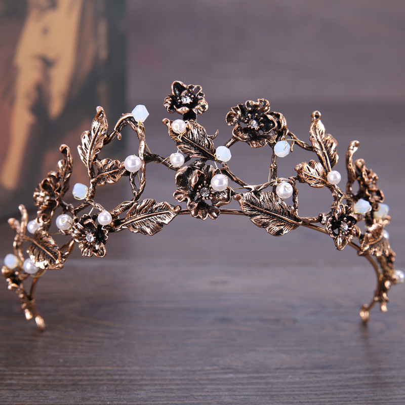 Hair Jewelry Vintage Gothic Bridal Crown And Tiara Metal Ancient Copper Gold Rhinestones Beads Crystals Flower Round Wedding Hair Accessories Jewelry & Accessories