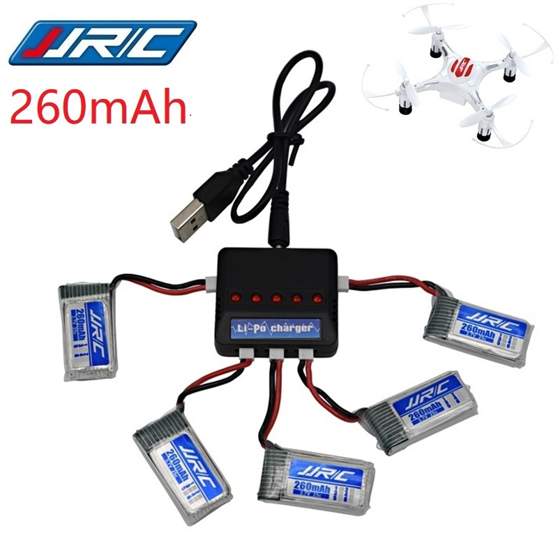 JJRC H8 Mini Original Battery 3.7V 260mAh Lipo Battery and (5in1) Charger for JJRC H8 JJRC H8 RC Quadcopter drone part H8Mini|Parts & Accessories| |  - title=