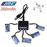 JJRC H8 Mini Original Battery 3.7V 260mAh Lipo Battery and (5in1) Charger for Eachine H8 JJRC H8 RC Quadcopter drone part H8Mini