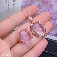 KJJEAXCMY boutique jewels 925 sterling silver inlaid natural hibiscus stone gemstone female ring + pendant + necklace support te