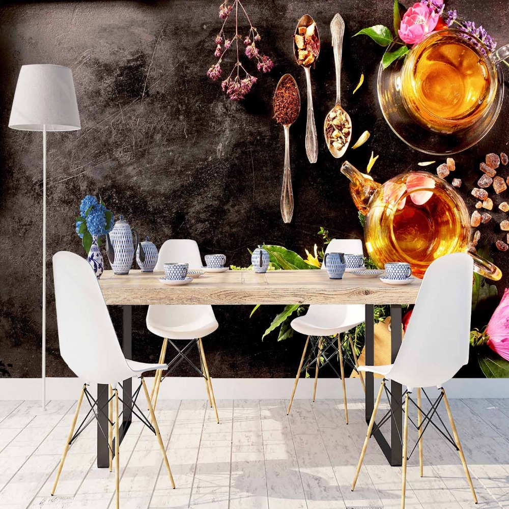 Else Black Breakfast Table Honey Jar Cup Of Tea 3d Print Photo Cleanable Fabric Mural Home Decor Kitchen Background Wallpaper