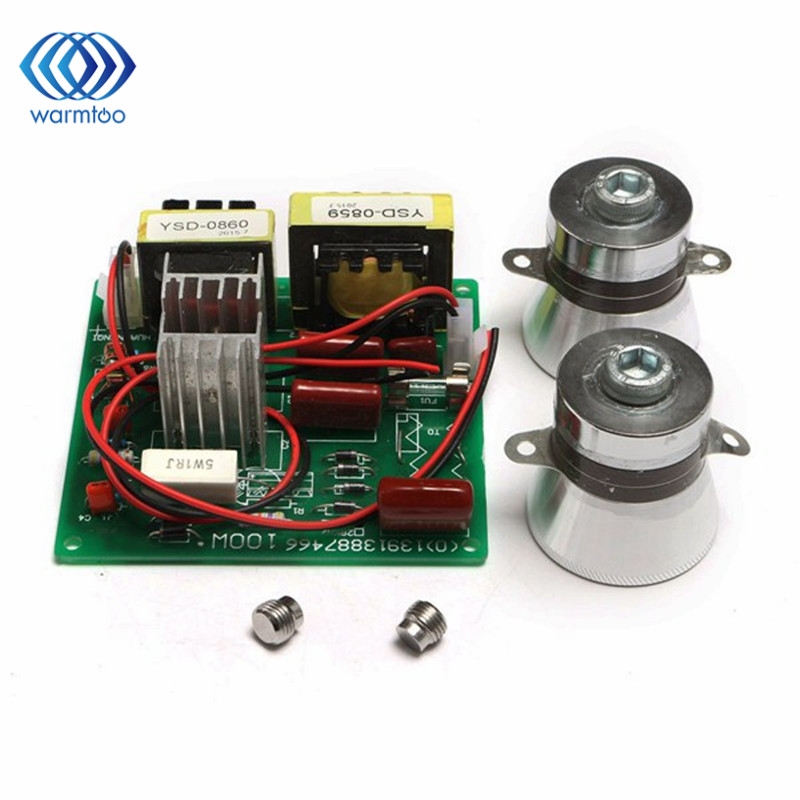 2PCS 50W 40KHz Transducers + 1PCS 220V AC 100W Ultrasonic Cleaner Power Driver Board Ultrasonic Cleaner Parts