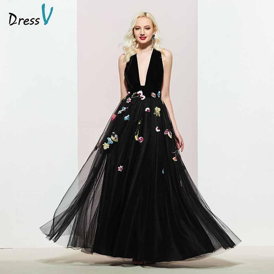 Dressv Black V Neck Evening Dress A Line Elegant Sleeveless Floor-length Embroidery Wedding Party Formal Dress Evening Dresses
