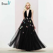 Dressv black v neck evening dress a line elegant sleeveless floor-length embroidery wedding party formal dresses