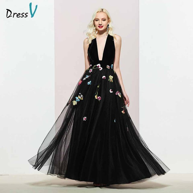 Dressv black v neck evening dress a line elegant sleeveless floor-length embroidery wedding party formal dress evening dresses
