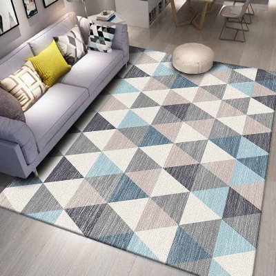 Else Gray Blue Cream White Triangle Geometric 3d Print Non Slip Microfiber Living Room Decorative Modern Washable Area Rug Mat