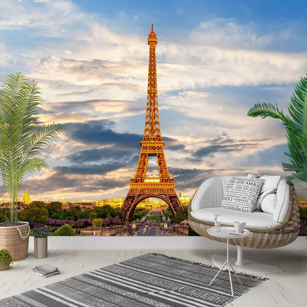 Else Blue Sky Gray Clouds Eiffel Tower Paris 3d Photo Cleanable Fabric Mural Home Decor Living Room Bedroom Background Wallpaper