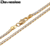 Free Shipping 3 4mm Yellow White Gold Filled Womens Mens Chain Unisex Hammered Braided Wheat Link