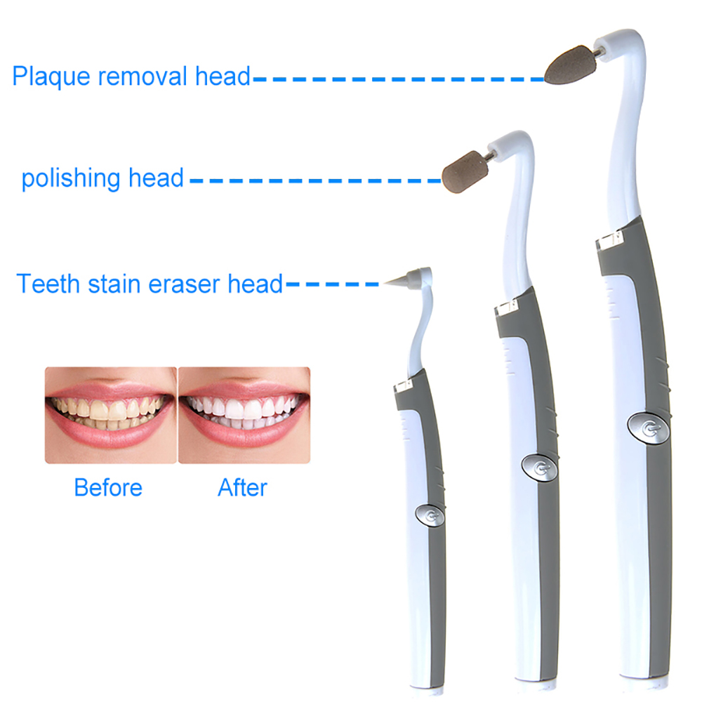 LEVOU Pic de Sonic Elétrica Tooth Stain Eraser Plaque Remover Polidor Moedor Multifunções Kit de Ferramentas De Limpeza Dental Clareamento Dos Dentes