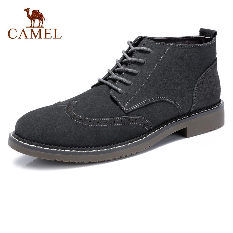CAMEL Men Dress Genuine Leather Shoes for Men Business Suede Retro Male Formal Italian Wedding Shoe