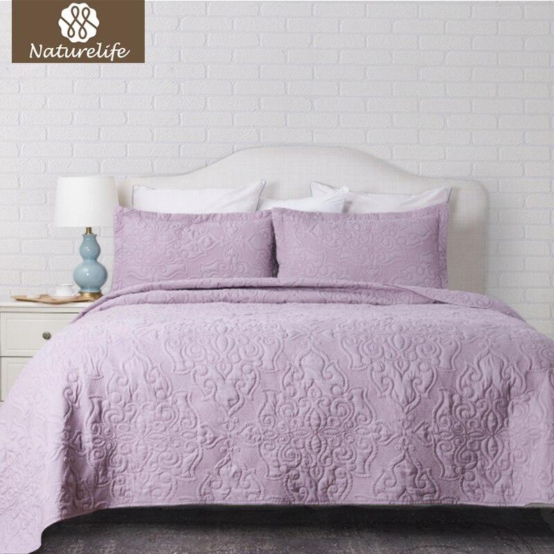 Naturelife Quilt Coverlet Set Solid Damask Pattern 3pcs Bedspread Bedding Set Soft Luxurious Microfiber Bedclothes Bedlinen