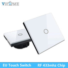 EU Standrad Vhome Remote Controller 2 gang 1 way Crystal Glass Touch Lamp Wall Light switch
