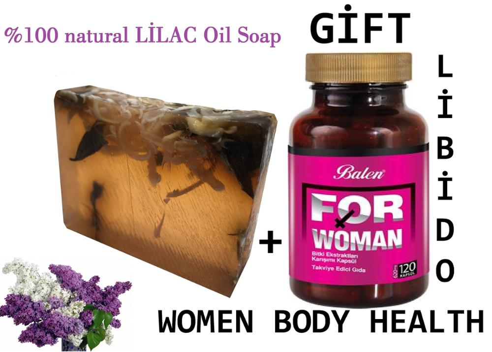 (gift Items)HANDMADE LILAC Essential Oil 100gr Soap+Gift Food Supplement WOMAN Health Female Sexual Activity Regulate Oestrogen