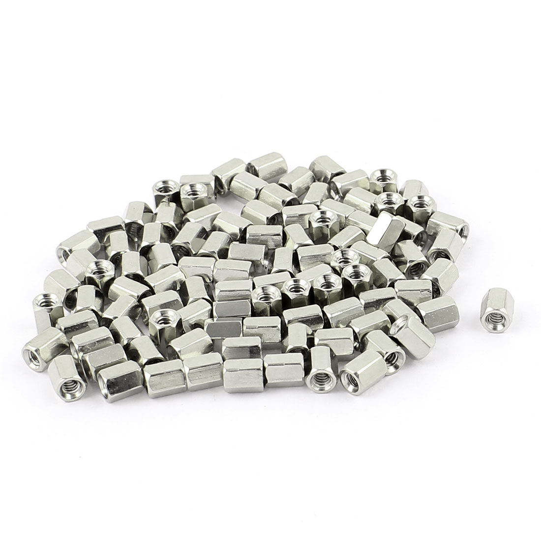 UXCELL 100Pcs #4-40 6Mm Long Female Thread Brass Hex Nut Spacer Standoff Pillar Nickle Plated Silver Tone For RS232, VGA, DB-9P