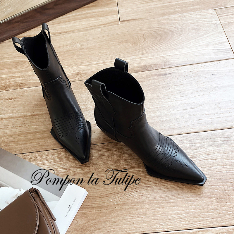 BHS 9011158 British Retro Pointed Toe Carving Hollow Out Chic 4 5CM Chunky Heel Genuine Cow Leather Stylish Women Martin Boots in Mid Calf Boots from Shoes