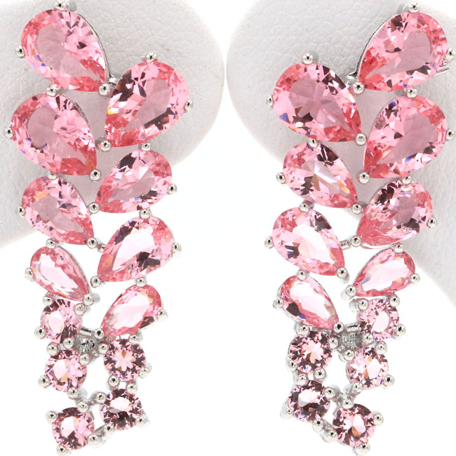 Ravishing Pink Morganites Ladies Christmas Gift 925 Silver Stud Earrings 31x11mm