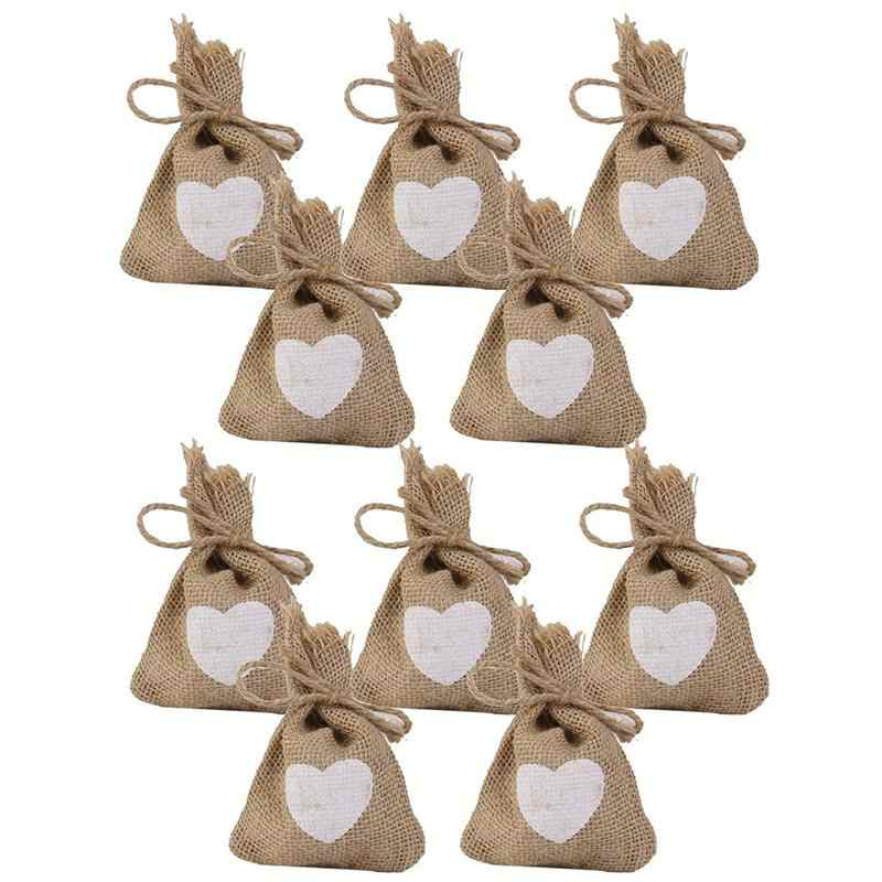 10PCS Print Linen Jute Sack Pouch Drawstring Gift Bags Candy Bags Wedding with Heart Pattern