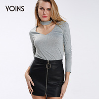 YOINS 2017 Women Sexy V Neck Halter Slim Fit Bottom Tops Casual Long Sleeve Back Zippers