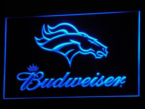 b294 Denver Broncos Budweiser Club LED Neon Sign with On/Off Switch 7 Colors 4 Sizes to choose