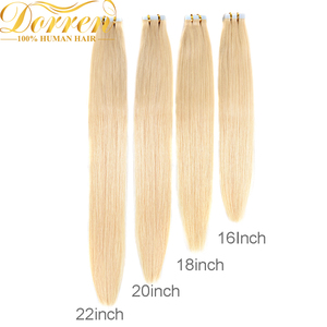 Image 2 - Doreen  Machine Made Remy Tape In Human Hair Extensions 16 to 22 Inch 20 Pcs 50g/Pack Silky Straight PU Seamless Skin Weft