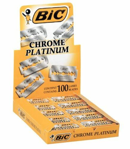 100 BIC CHROME PLATINUM DOUBLE EDGE RAZOR BLADES