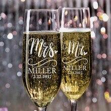 Персонализированные Свадебные флейты для шампанского на заказ г-н миссис Свадебные стеклянные флейты для шампанского кристаллическое стекло 2 шт