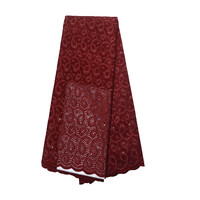 Newest Wine African Laces High Quality Swiss Embroidery Cotton 5 Yards Nigerian Cotton Swiss Lace Fabric L64 13