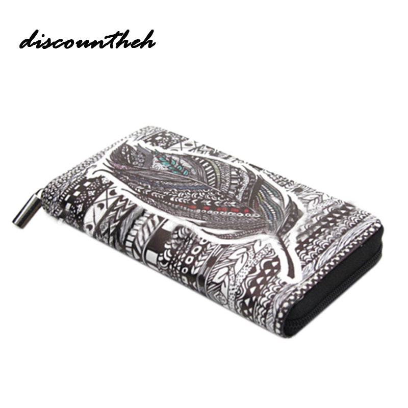 Feather Printing PU Wallet Women Long Wallet Female Long Clutch Zipper Coin Purse Phone Card Holder Portefeuille femme