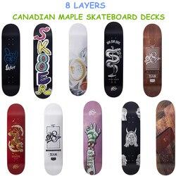 Professional 8 Layers Canadian Skateboard Deck 8,  8.125, 8.25 inch Double Rocker Skateboarding Decks buy 1 get 1 free griptape