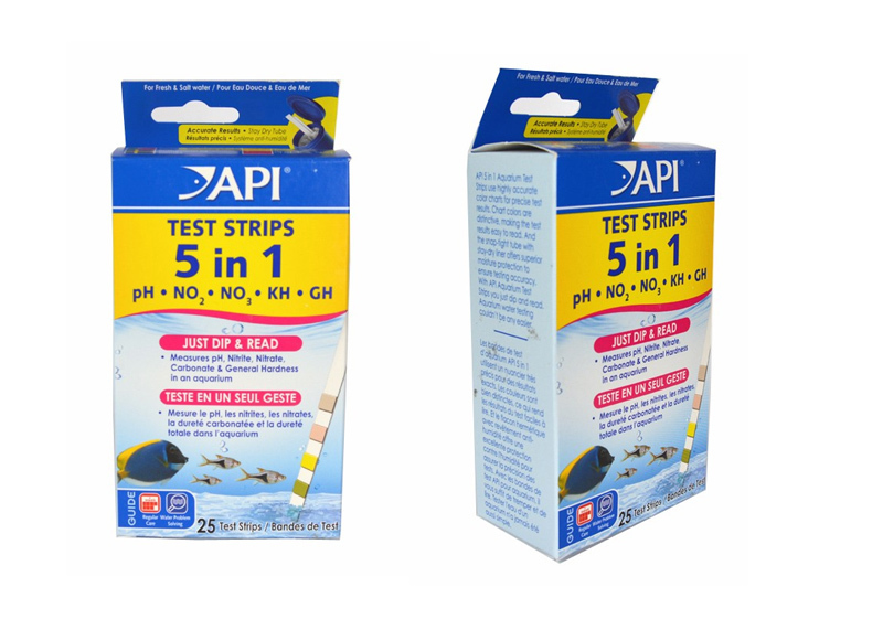 25 PCS API 5 in 1 Aquarium Test Strips-Tests PH, NO2, NO3, KH, GH(25 Test Strips)