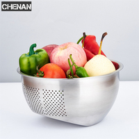 Stainless Steel Wash Rice Strainer Colander Sieve Fruit Vegetable Grains Washing Bowl Basket Kitchen Drainer Cooking Tools
