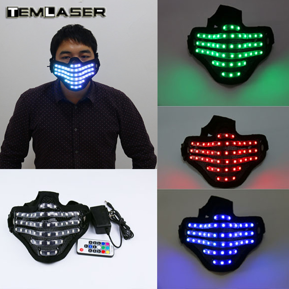 Livraison gratuite LED RGB Mutilcolor Lumière Masque Héros Garde Visage DJ Masque Halloween Party D'anniversaire LED Coloré Masques pour le spectacle