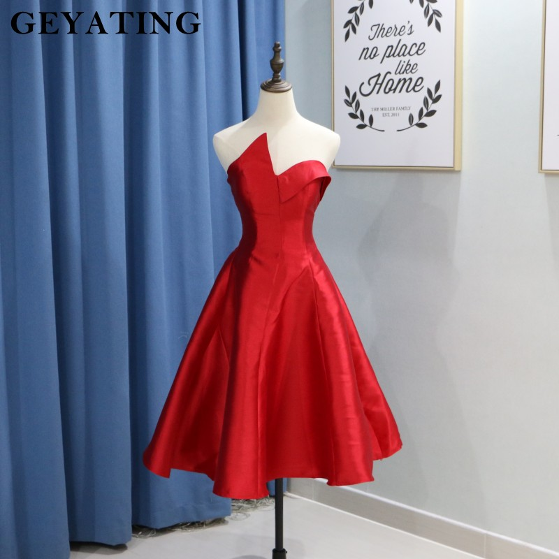 2019 Satin   Bridesmaid     Dress   Red Tea Length Formal Wedding Guest   Dresses   Sexy Backless Cheap Junior Gowns For Wedding Party