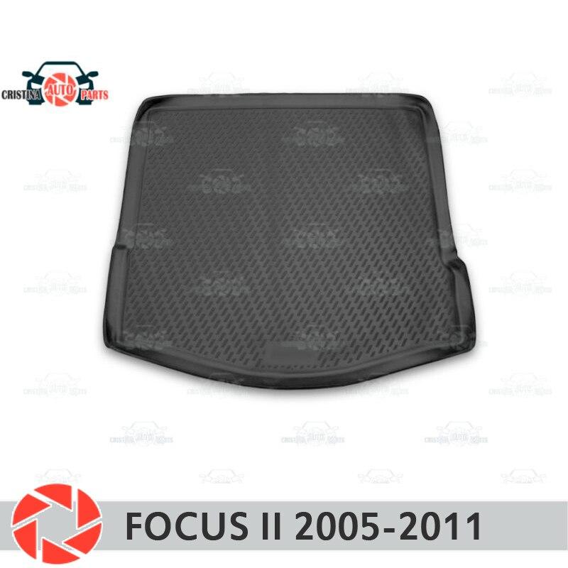 Mat tronco para Ford Focus 2 2005-2011 mat tronco tapetes do assoalho antiderrapante poliuretano proteção sujeira interior tronco estilo do carro