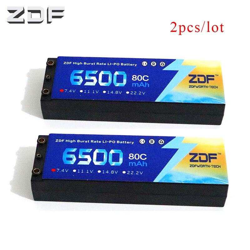 2 pcs ZDF Lipo Batterij 2 S 6500 mAh Lipo 7.4 V Batterij Deans Plug 80C 160C 1/8 Schaal voor Traxxas Slash 4x4 RC Auto