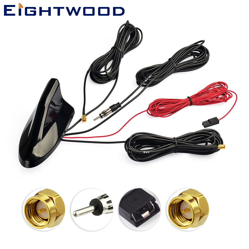 Eighetwood Car Roof Shark Fin Amplified Antenna,GPS Navigation DAB+ Receiver Digital Radio Car Stereo FM/AM Radio Combined все цены