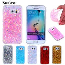 For Samsung S6 Edge G925F Glitter Case Colored Shinning Silicone TPU Soft Back Cover Phone Case for Samsung Galaxy S6 Edge G925 стоимость