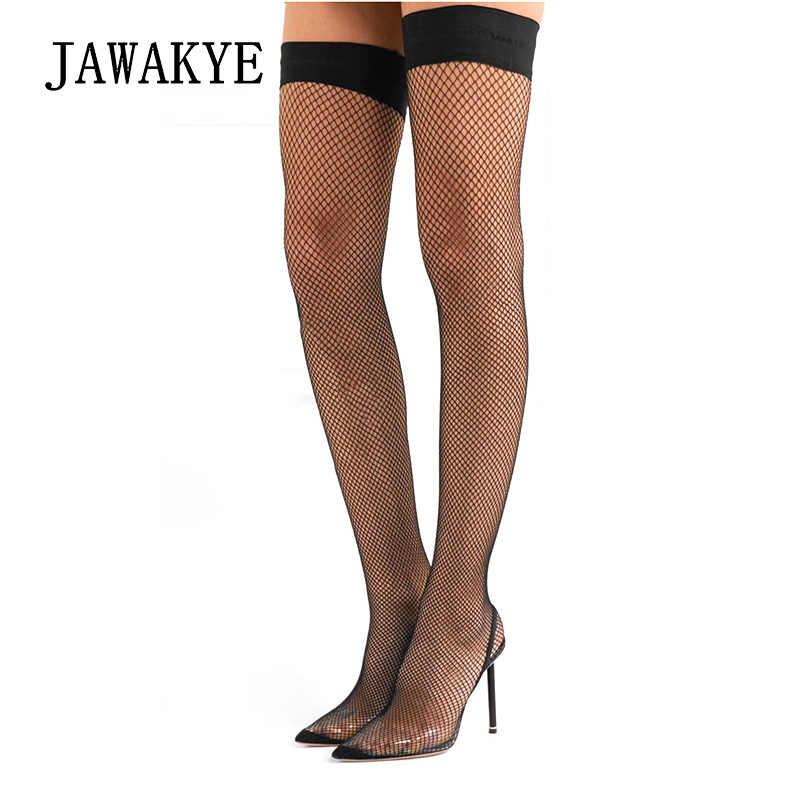 JAWAKYE siyah Fishnets Meshy Cut çıkışları Çorap Ayakkabı Kadınlar Sivri Burun ince yüksek topuklu Şeffaf kadın Pompaları Seksi bayanlar parti ayakkabıları