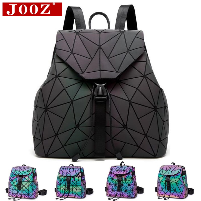 Luminosa mochila costura de celosía bolsa mochila para mujer mochila para viajes chica bolso de escuela estudiante mochila holograma saco un dos