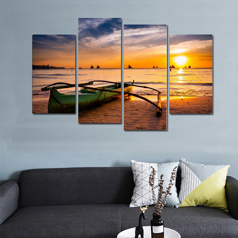 2018 Modern Multi Panels Canvas Art Landscape Wall Art Pictures Boat Beach Print Painting Poster Wall Pictures for Home Decor