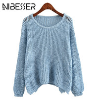 NIBESSER Army Green Sweaters Women Long Sleeve Pullovers Antumn Winter Casual Loose Knitted Sweaters Jumpers Female Z30