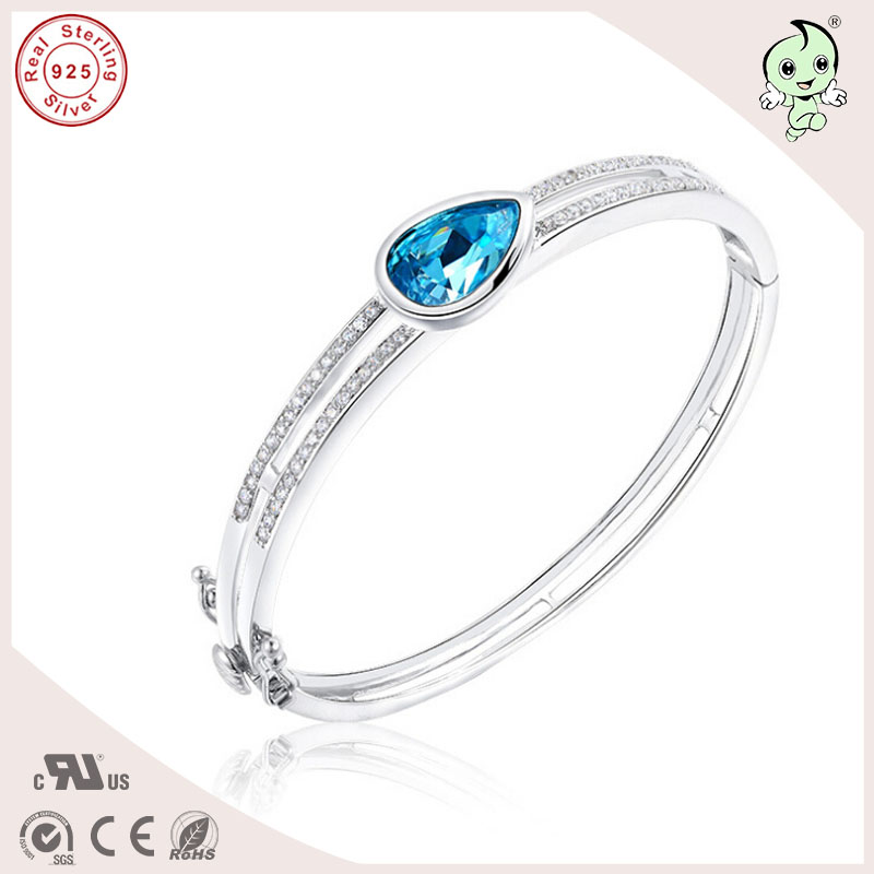 New Arrival And Popular Good Quality Blue Waterdrop Famous Crystals Paving Two Circles 925 Real Silver Bangle For Ladies popular good quality gift silver jewelry bangle pink love heart famous crystals 925 pure silver bangle