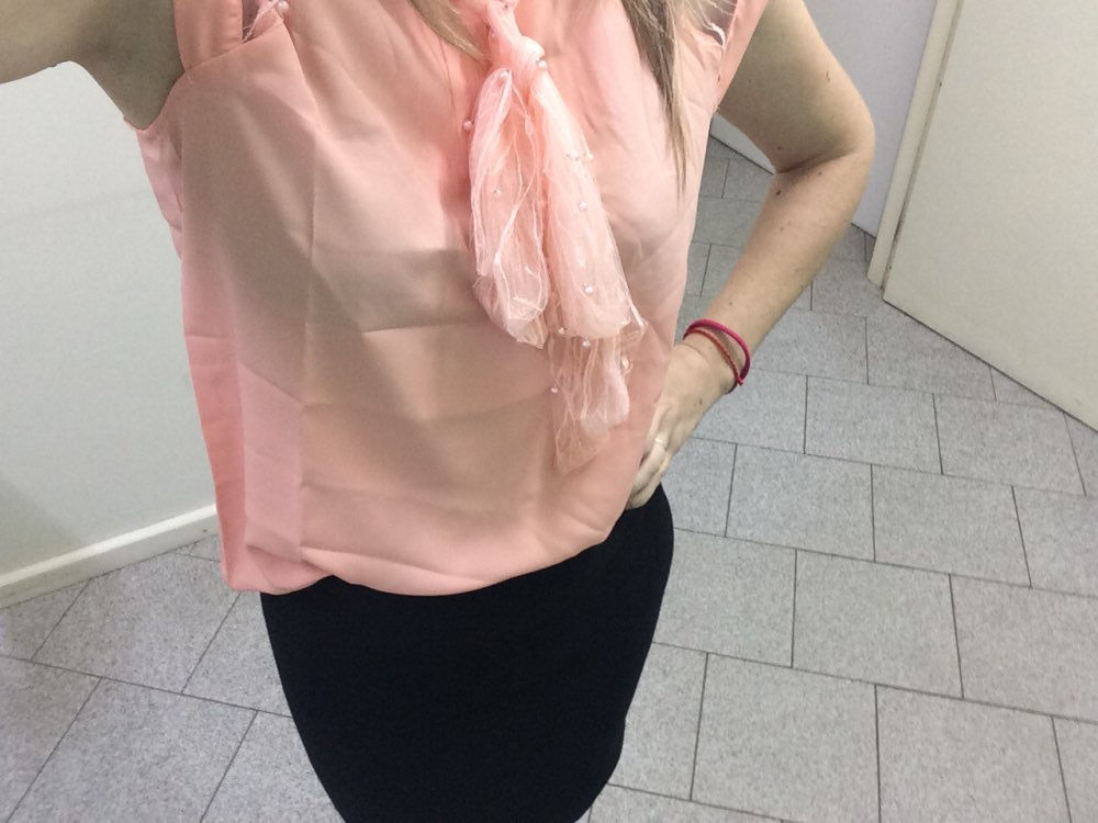 Sheinside Pearl Beading Mesh Top Women Pink Tied Neck Cap Sleeve Stand Collar Blouse Shirt 2018 Summer Elegant Workwear Blouse