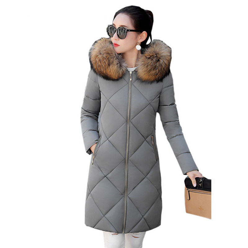 Women s winter Cotton jacket New fashion hooded Overcoat Long section Fur collar thick jacket warm