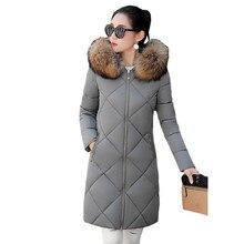 Женская зимняя куртка Новая мода капюшоном Пальто Длинный отрезок Меховой воротник толстые куртки теплый куртка Женский пальто