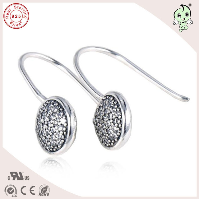 Fancy New Collection Por Famous Brand Cz Paving Round Head 925 Real Silver Earrings